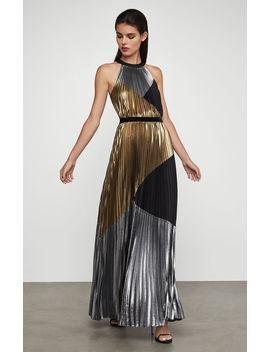 Metallic Sunburst Pleat Gown by Bcbgmaxazria