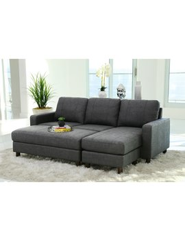 Abbyson Stanford Fabric Reversible Sectional Sofa With Storage Ottoman by Hayneedle