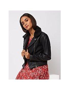 Black Faux Fur Detachable Collar Biker Jacket by Asda