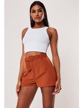 Petite Terracotta Co Ord Tailored Shorts by Missguided