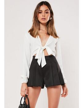 Black Satin Floaty Pleated Shorts by Missguided