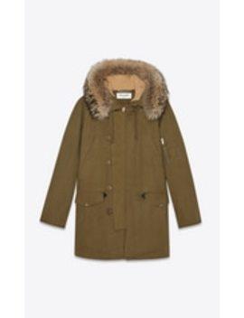 Oversized Parka In Cotton Gabardine And Raccoon Fur by Saint Laurent