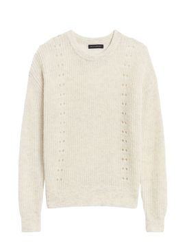 Cropped Pointelle Knit Sweater by Banana Republic