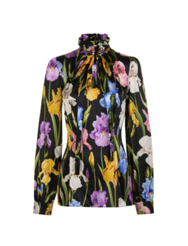 Iris Tie Floral Blouse by Dolce And Gabbana