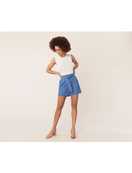 Chambray Tie Shorts by Oasis