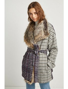 Irene Check Funnel Neck Coat by French Connection