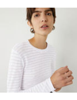 Sheer Stripe Long Crew Top by Warehouse