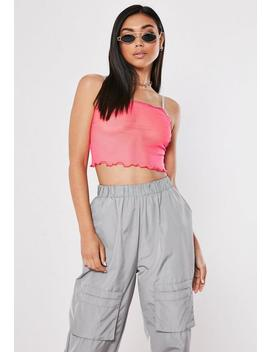 Neon Pink Mesh Lettuce Hem Cami Top by Missguided