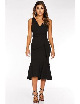Black V Neck Fishtail Midi Dress by Quiz