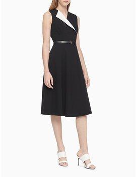 Foldover Collar A Line Midi Dress by Calvin Klein