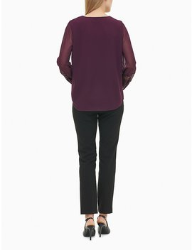 V Neck Lace Trim Long Sleeve Top by Calvin Klein