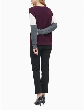 Tri Colorblock Textured Crewneck Sweater by Calvin Klein