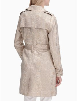 Snake Brocade Double Breasted Trench Coat by Calvin Klein