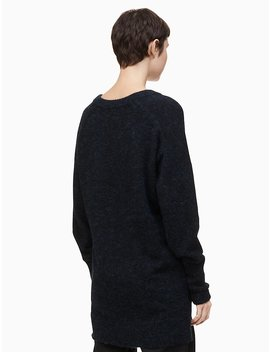 V Neck Drop Shoulder Long Sweater by Calvin Klein
