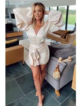 Charlotte Crosby Cream Leopard Jacquard Satin Balloon Sleeve Dress by In The Style