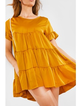 Gold Satin Smock Tiered Frill Mini Dress by In The Style