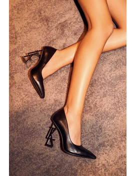 Ltk Logo Court Heels In Black Vegan Leather Vegan Matte Leather by Luxe To Kill
