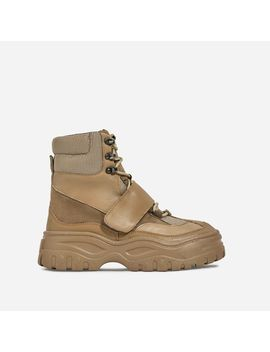 Rover Lace Up Ankle Hiker Boot In Khaki Faux Leather And Suede by Ego