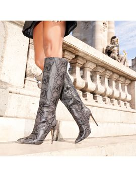 Rose Knee High Long Boot In Grey Snake Print Faux Leather by Ego