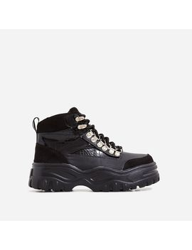 Hammer Lace Up Chunky Sole Ankle Hiker Boot In Black Croc Print Faux Leather by Ego
