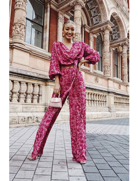 Laila Loves Pink Floral Wide Leg Trousers by In The Style