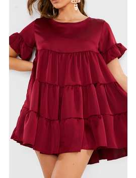 Burgundy Satin Smock Tiered Frill Mini Dress by In The Style