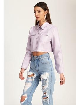 Hudson Crop Jacket – Purple by Lioness Fashion