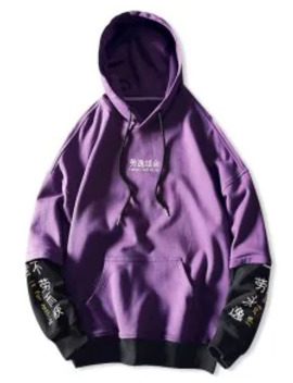 Popular Sale Letter Graphic Print Color Blocking Spliced Faux Twinset Hoodie   Purple L by Zaful