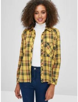 Salezaful Front Pocket Plaid Tunic Shirt   Bee Yellow M by Zaful