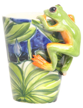 Frog 3 D Ceramic Mug, Green by Blue Witch Ceramics Inc.