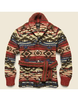 Hand Knit Ranch Cardigan   Red/Navy/Cream by Rrl