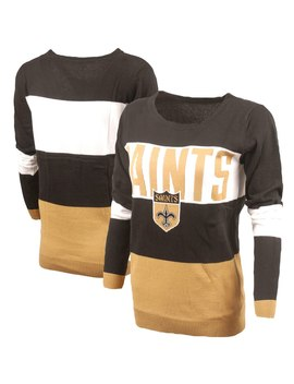 Women's New Orleans Saints Black Retro Colorblock Sweater by Nfl