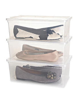 3 Stackable Clear Plastic Shoe Storage Boxes   Up To Size 8 Shoe by Lakeland