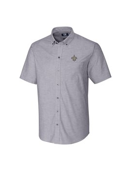 Men's New Orleans Saints Cutter & Buck Charcoal Stretch Oxford Short Sleeve Woven Button Down Shirt by Nfl