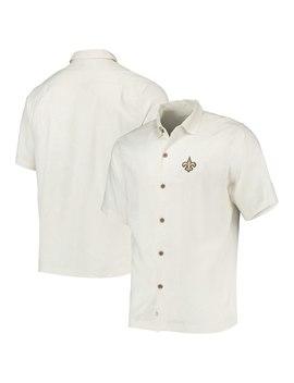 Men's New Orleans Saints Tommy Bahama White Al Fresco Tropics Jacquard Woven Button Down Shirt by Nfl