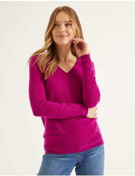 Cashmere Relaxed V Neck Jumper   Firework by Boden