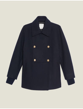 Double Breasted Wool Peat Coat by Sandro Paris
