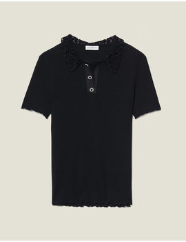 Ribbed Polo Shirt With Guipure Collar by Sandro Paris