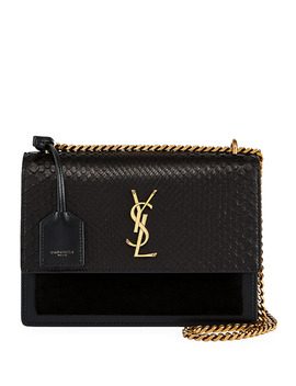 Ysl Sunset Python Crossbody Bag In Black by Saint Laurent