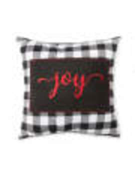 "Winter Wonder Lane Buffalo Check ""Joy"" Decorative Pillow, (17"" X 17"") by Winter Wonder Lane Buffalo Check ""Joy"" Decorative Pillow, (17"" X 17"")"