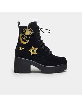 Astro Star And Moon Chunky Boots Size 11 by Koi Footwear