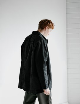 Oliver Court Coat Wax Cotton Black by Casey Casey