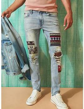 Patch Distressed Skinny Jeans by Guess