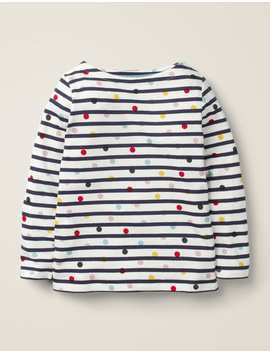 Lightweight Breton   Ivory/Navy Multi Dot by Boden