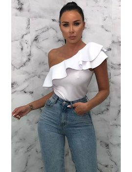 White Ruffle Off The Shoulder Bodysuit   Olivia by Femme Luxe