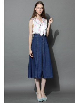 Swing Denim A Line Midi Skirt by Chicwish