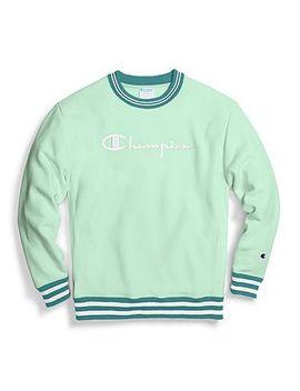 Champion Life® Men's Reverse Weave® Yarn Dye Rib Trim Crew, Vintage Logo by Champion