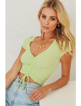 Rewind Collection Ribbed Drawstring Top // Lime by Vergegirl