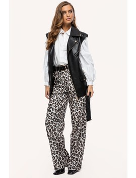 Living The Life by Loavies Leopard Print Wide Leg Trousers