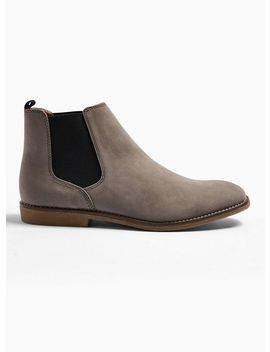 Grey Faux Suede Spark Chelsea Boots by Topman